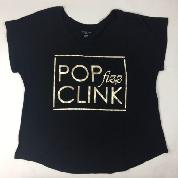 e75ff759d Lane Bryant Tops | Plus Size Black Pop Fizz Clink Shirt | Poshmark
